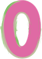 数字の0、ピンクと緑