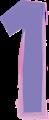 数字の1、紫とピンク