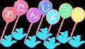 お誕生日メッセージ入り風船と青い鳥イラスト