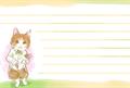 花束を持っている猫の水彩タッチの絵本風の絵葉書テンプレート・横向き罫線付き