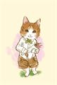 花束を持っている猫の水彩タッチの絵本風の絵葉書テンプレート・縦向き罫線無し