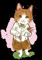 花束を持っている猫の水彩タッチの絵本風パーツ素材