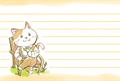 椅子に座ってお茶を飲んでいる猫の、水彩タッチのマンガ風絵葉書テンプレート・横向き罫線付き