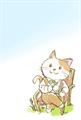 椅子に座ってお茶を飲んでいる猫の、水彩タッチのマンガ風絵葉書テンプレート・縦向き罫線無し
