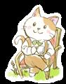 椅子に座ってお茶を飲んでいる猫の、水彩タッチのマンガ風素材