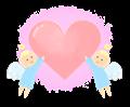 愛のハートを運ぶ天使イラスト・ほんわり背景色付き