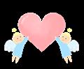 愛のハートを運ぶ天使イラスト・ほんわか塗り