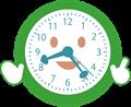 笑顔で解説する時計のイラスト