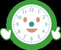 笑顔で解説する時計のイラスト・針なし