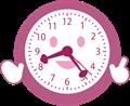 笑顔で解説する時計のイラスト・単色