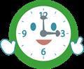 笑顔で案内する時計のイラスト