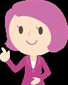 受付イラスト・ピンクスーツのポイントポーズ