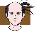 はるか師匠のように風で髪がなびく薄毛男性イラスト