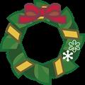 赤と黄リボン、緑色の輪クリスマスリースイラスト
