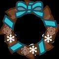 水色リボンにチョコ色クリスマスリースイラスト