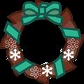 ミント色リボンにチョコ色クリスマスリースイラスト