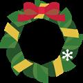 赤と黄リボンに緑のクリスマスリースイラスト・描線なし
