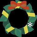 朱色と黄色リボンに深緑のクリスマスリースイラスト・描線なし