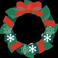 朱色リボンのクリスマスリースイラスト・描線なし