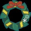 朱色と黄色リボン、深緑色の輪クリスマスリースイラスト