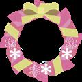 ピンク色クリスマスリースイラスト・描線なし