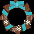 水色リボンにチョコ色クリスマスリースイラスト・描線なし