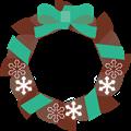 ミント色リボンにチョコ色クリスマスリースイラスト・描線なし