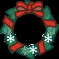 朱色リボンのクリスマスリースイラスト