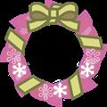 ピンクのクリスマスリースイラスト