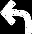 ボールペン書き矢印のイラスト・90度曲がり型・白色