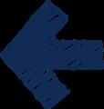 ボールペン書き矢印のイラスト・短い直線型・紺色