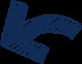 ボールペン書き矢印のイラスト・短い曲線型・紺色