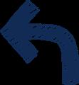 ボールペン書き矢印のイラスト・90度曲がり型・紺色