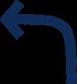 ボールペン書き矢印のイラスト・長い90度曲がり型・紺色