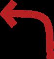 ボールペン書き矢印のイラスト・長い90度曲がり型・朱色