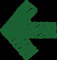 ボールペン書き矢印のイラスト・短い直線型・深緑色