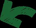 ボールペン書き矢印のイラスト・短い曲線型・深緑色