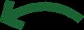 ボールペン書き矢印のイラスト・曲線型・深緑色