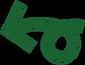 ボールペン書き矢印のイラスト・短い一回転型・深緑色