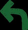 ボールペン書き矢印のイラスト・90度曲がり型・深緑色