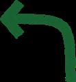 ボールペン書き矢印のイラスト・長い90度曲がり型・深緑色