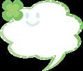 クローバー付きふきだし、緑ボーダー柄のモクモク型