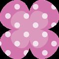 ピンクのクローバー、白ドット柄