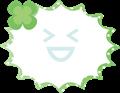 クローバー付きふきだし、緑のドット柄のパンク型