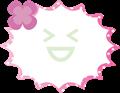 クローバー付きふきだし、ピンクのドット柄パンク型
