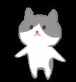 黒ぶち猫のほのぼの手書きイラスト