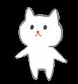 白猫のほのぼの手書きイラスト