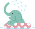 ゾウのイラスト・水遊び