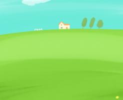 野原の中にある一軒家と3本の ...