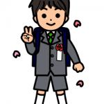 4月入学式、新一年生ランドセルの男の子の無料イラスト